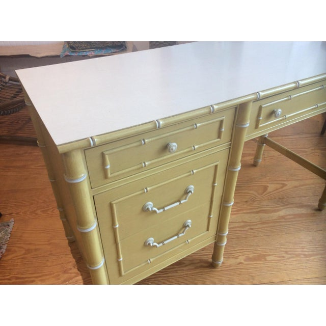 Thomasville Vintage Faux Bamboo Desk - Image 3 of 9