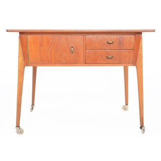 Danish Modern Atomic Teak & Oak Sewing Cart