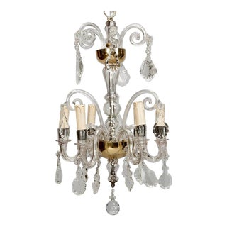 Victorian French Crystal and Brass Six Light Chandelier