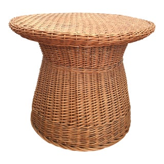 Vintage Large Round Wicker Side table