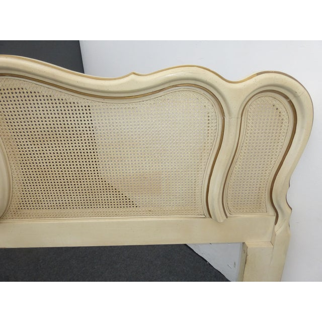 Vintage French Provincial White Cane King Sized Headboard - Image 9 of 11