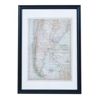 Hand Colored Antique Map of S. South America