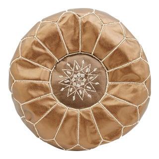 Moroccan Copper Colored Leather Pouf Ottoman