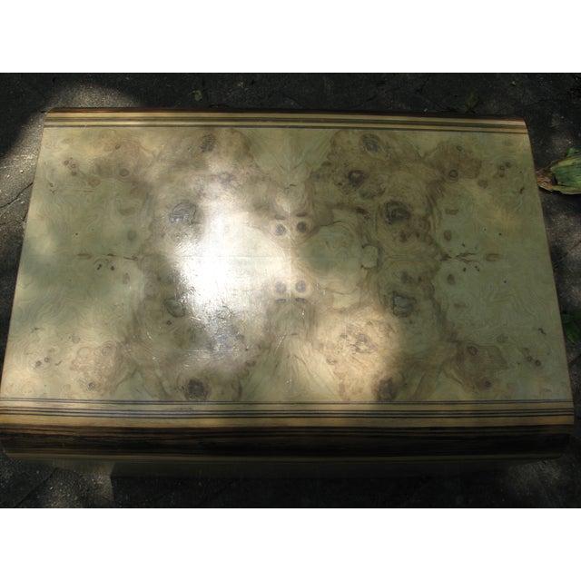Henredon Olive Burl and Ebony Side Table/Stool - Image 9 of 10