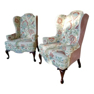 Vintage Woodmark Original Embroidered Wingback Chairs - A Pair