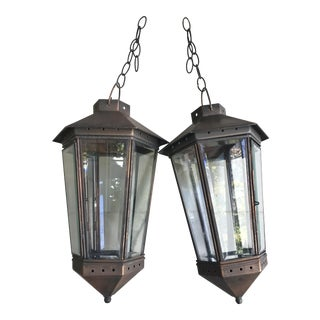 Vintage Copper Hanging Lanterns - a Pair