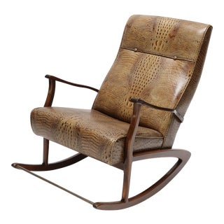 1960s Brazilian Rocking Chair in Crocodile Embossed Leather