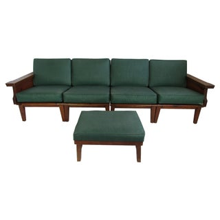 Knotty Pine 4-Seat Modular Sofa W/ Ottoman, C. 1950