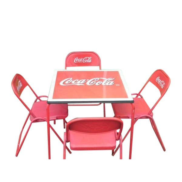 Coca cola coke porcelain top table chairs chairish - Coca cola table and chairs set ...