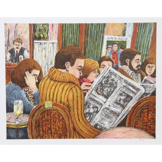David Azuz -Couple Bar Montparnasse Pari Litho