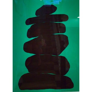 Glossy Black Cairn on Emerald by Stephanie Henderson
