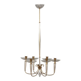 Venini Attributed Brass and Glass Chandelier