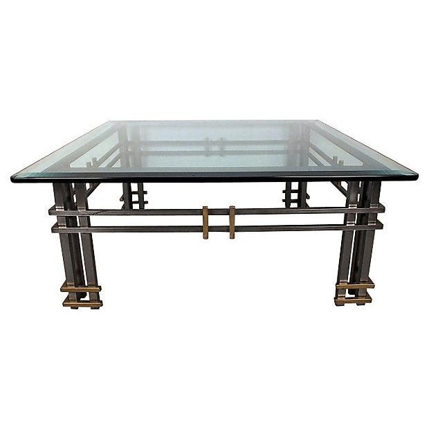 1970s Vintage Modern Metal Coffee Table