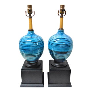 Blue Italian Pottery Lamps - A Pair
