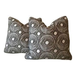 Cut Velvet Charcoal & Black Pillows - A Pair