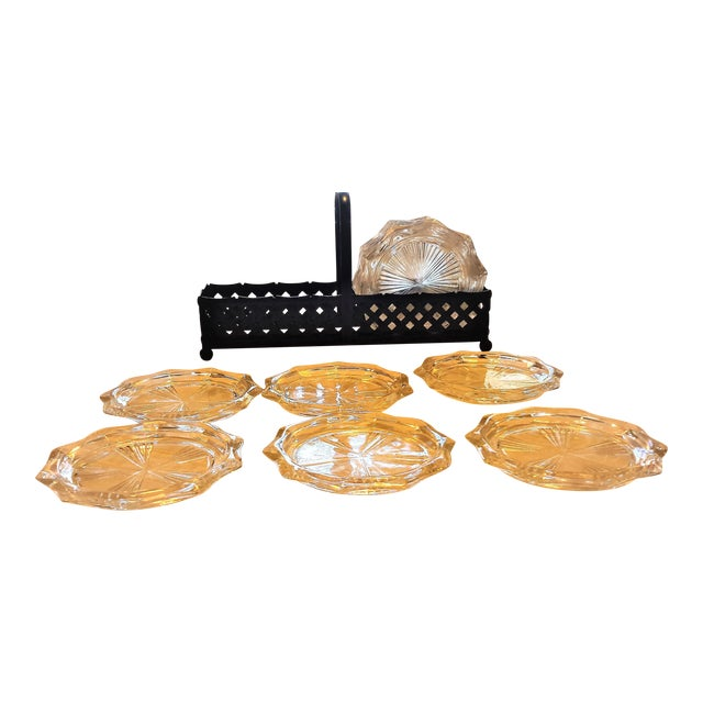 Image of Mid-Century Cut Glass Coasters & Holder - Set of 12