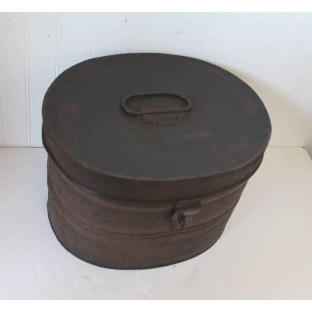 19th Century Original Brown Painted and Distressed Hat Box - Image 5 of 8