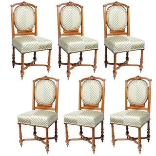 Set of Six English, Edwardian Style Dining Side Chairs with Green Upholstery Fabric
