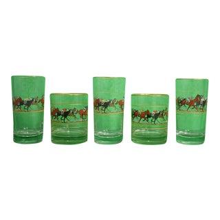 Hand-Painted Jockeys (2) Old-Fashioned & (3) Highball Glasses - Set of 5