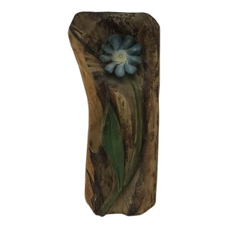Wood Carved Flower Wall Hanging