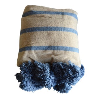 Baby Blue Stripes Wool Moroccan Pom Pom Blanket