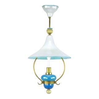 Italian Murano Blue and White Cased Glass Hooded Pendant Chandelier