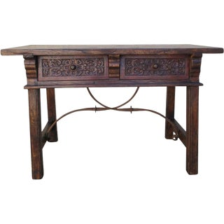 Spanish Antique Renaissance Two Drawer Table With Iron Stretcher