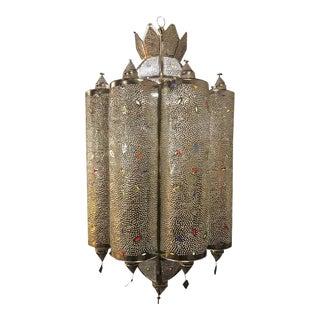 Silver Plated Jeweled Art Deco Lantern Form Light Fixture