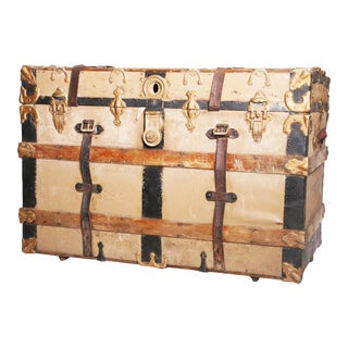 Vintage Victorian Wood & Metal Beige Steamer Trunk
