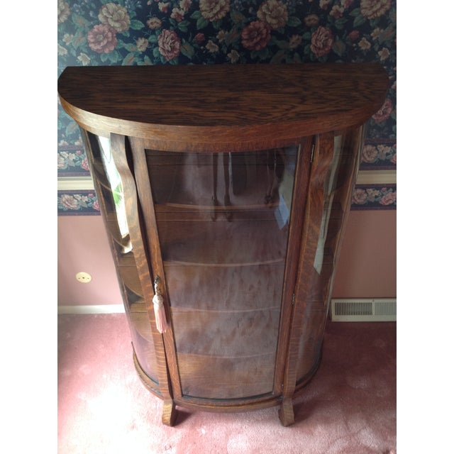 Antique Tiger Oak Curved-Glass China Cabinet - Image 7 of 9
