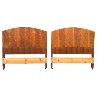 Walnut Burlwood Twin Deco Headboards - A Pair