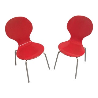 Mid-Century Modern Arne Jacobsen Childrens Red Bent Plywood Danish Chairs - A Pair