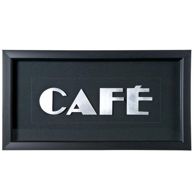 """Framed Vintage French Aluminum """"CAFE"""" Letters - Image 1 of 2"""