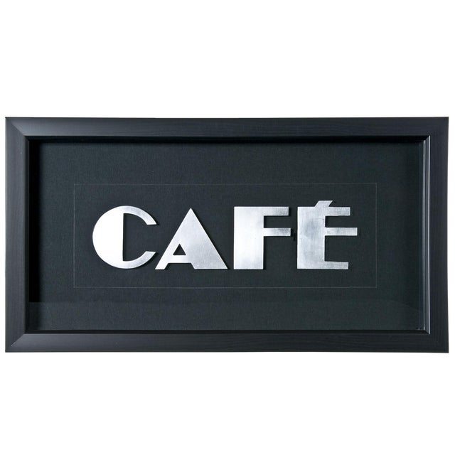 "Image of Framed Vintage French Aluminum ""CAFE"" Letters"