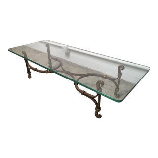 Gilded Iron & Glass Coffee Table Attributed to Arturo Pani