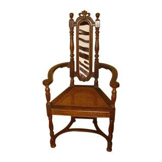 Berkey & Gay Jacobean Cane & Cowhide Arm Chair