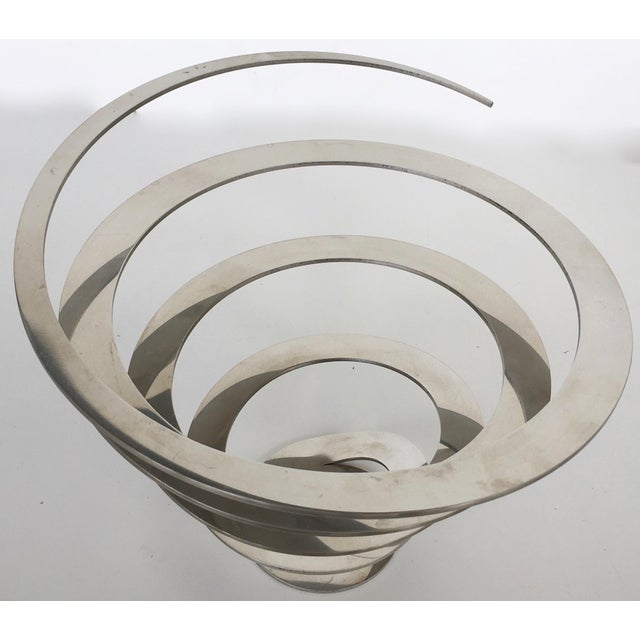 Image of Danish Modern Steel Swirl Fruit Bowl / Centerpiece