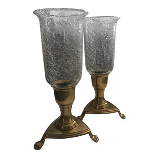 Brass & Crackled Glass Candle Holders - A Pair