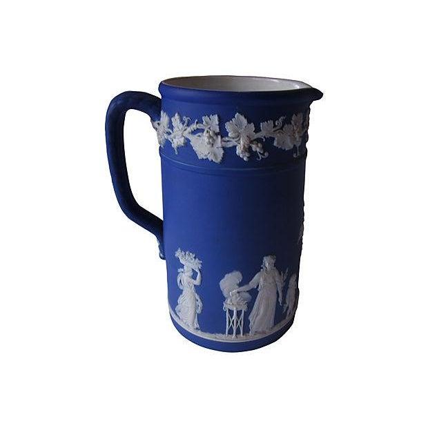 Image of Antique Wedgwood Blue Jasper Dip Glaze Jug