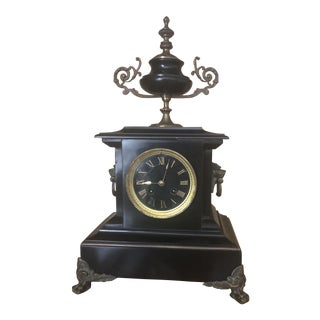 Antique French Black Marble Mantle Clock