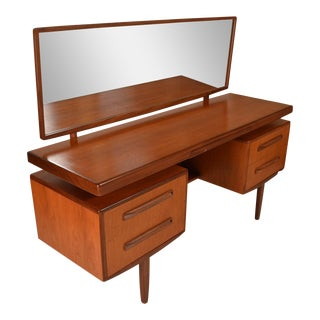 Mid Century G Plan Fresco Teak Vanity with Mirror designed by Victor Bramwell Wilkins