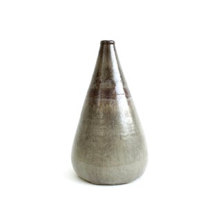 Vintage Studio Pottery Vase, Taupe Brown