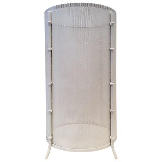 French Mathieu Matégot White Metal Mesh Faux Bamboo Umbrella Stand