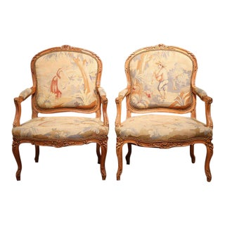 19th Century French Louis XV Aubusson Tapestry Carved Armchairs - A Pair