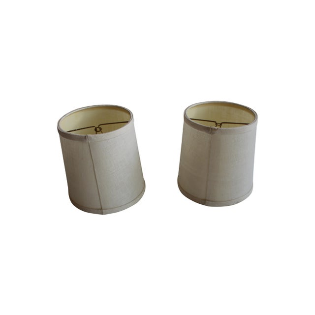 Image of Clip-on Beige Linen Sconce Shades - A Pair