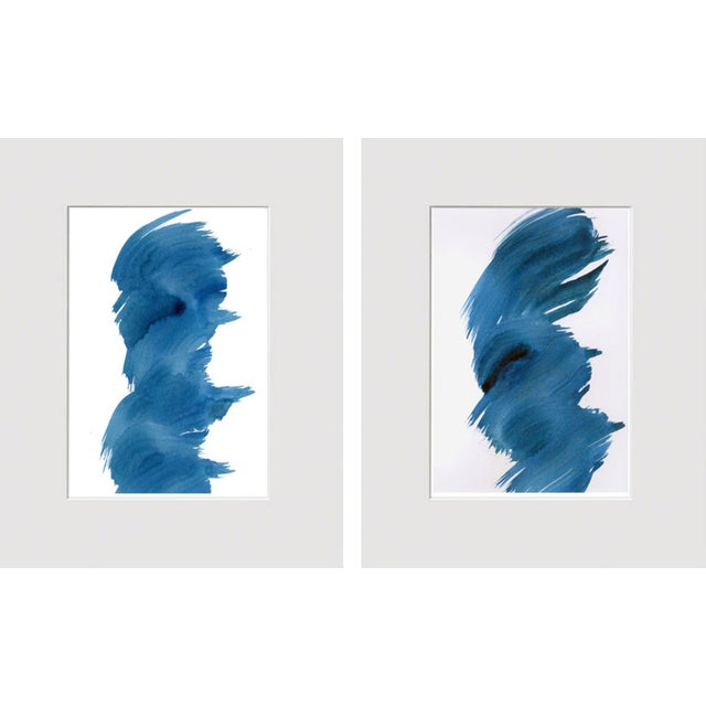 """""""Blue Fever"""" Modern Abstract Watercolor Matted Paintings - a Pair - Image 4 of 4"""