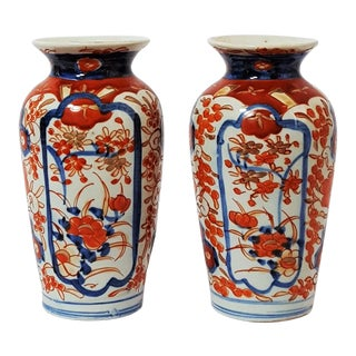 18th Century Antique Japanese Imari Vases - a Pair