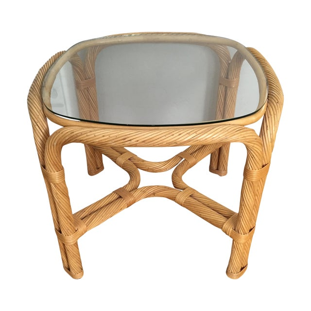 Boho Chic Wicker End Table - Image 1 of 5
