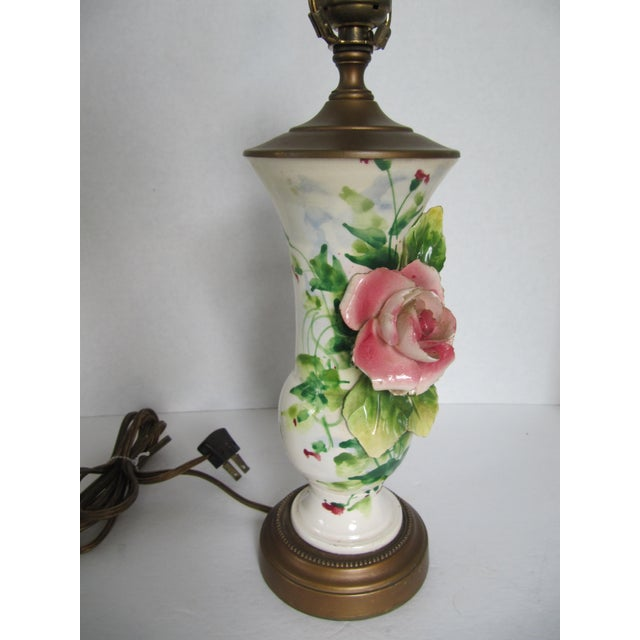 Vintage Table Lamps With Flowers : Vintage ceramic flower table lamp chairish