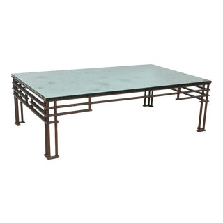 "A French Modern Iron & Mirrored Glass ""Atilla"" Low Table, Jean- Michel Wilmotte"